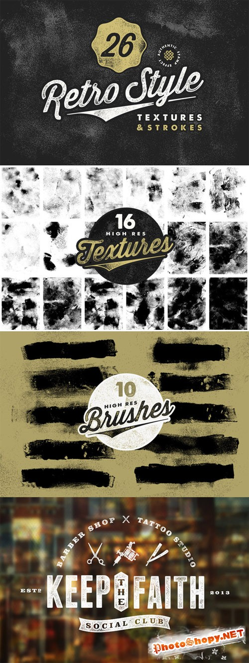 CreativeMarket - Retro Stamp Textures & Brush Pack 85641