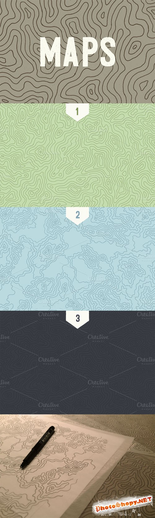 Creativemarket - 3 Topographic Elevation Maps 15833
