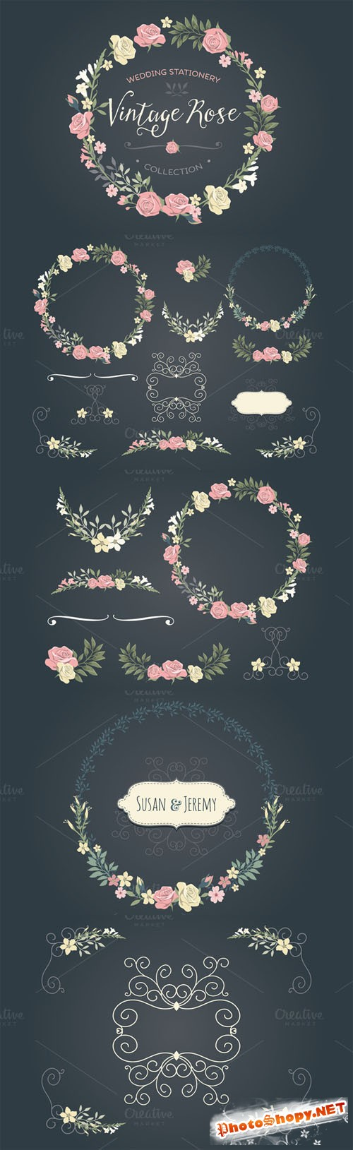 Creativemarket - Vintage Rose wedding set 68954