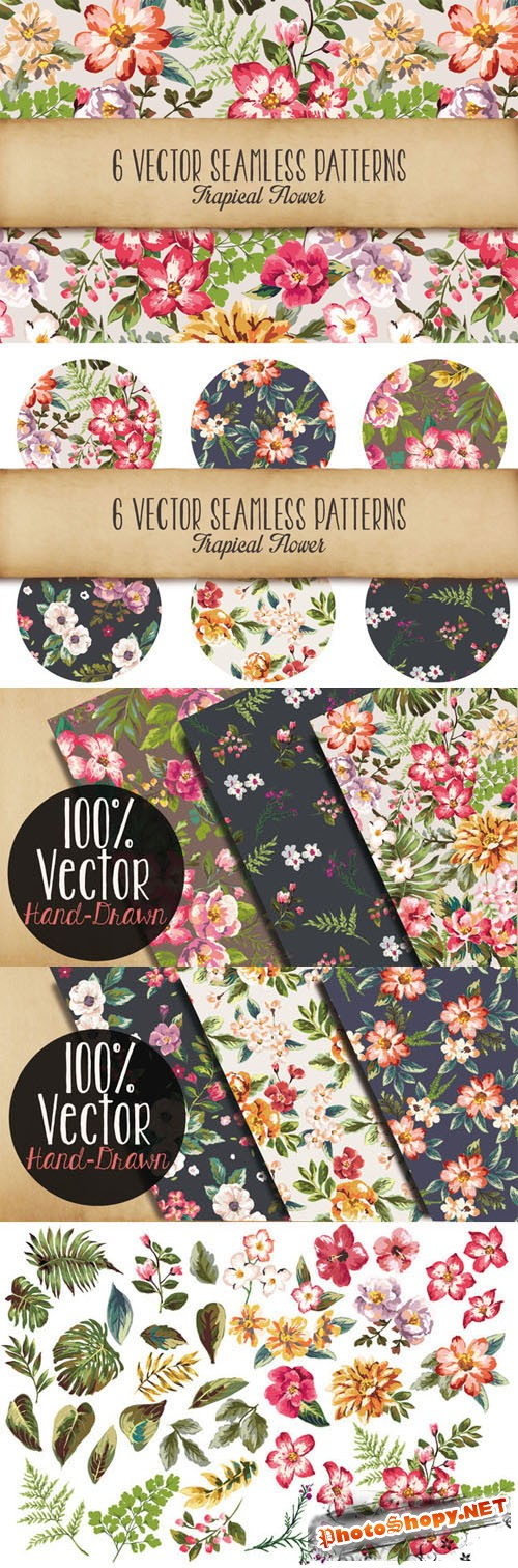 Creativemarket 89814 - Seamless tropical flowers Vol.3