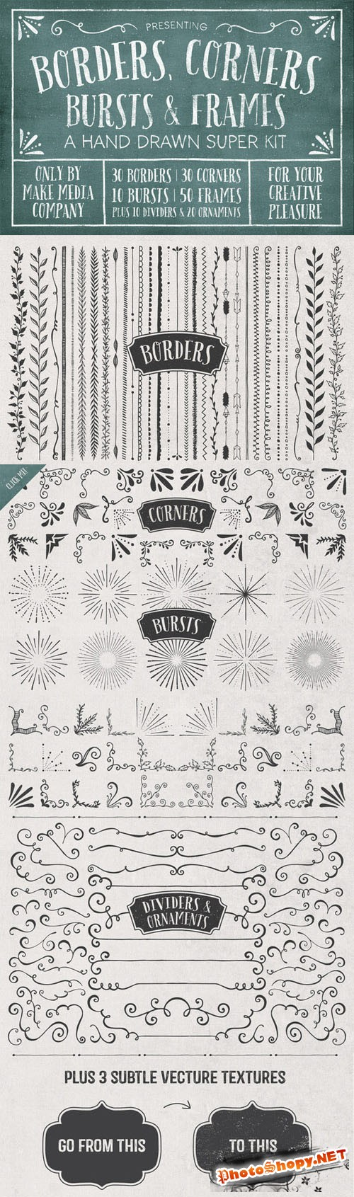 Creativemarket - Borders, Corners & Frames Super Kit 57719