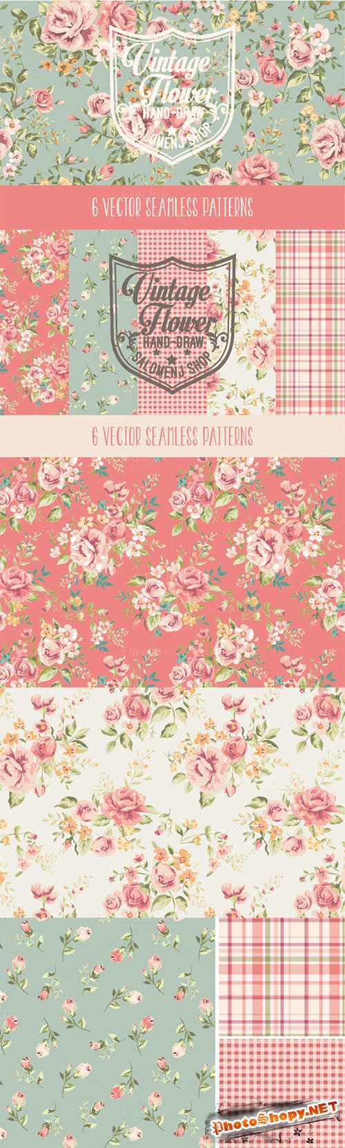 Creativemarket 64060 - Vintage seamless patterns Vol.1