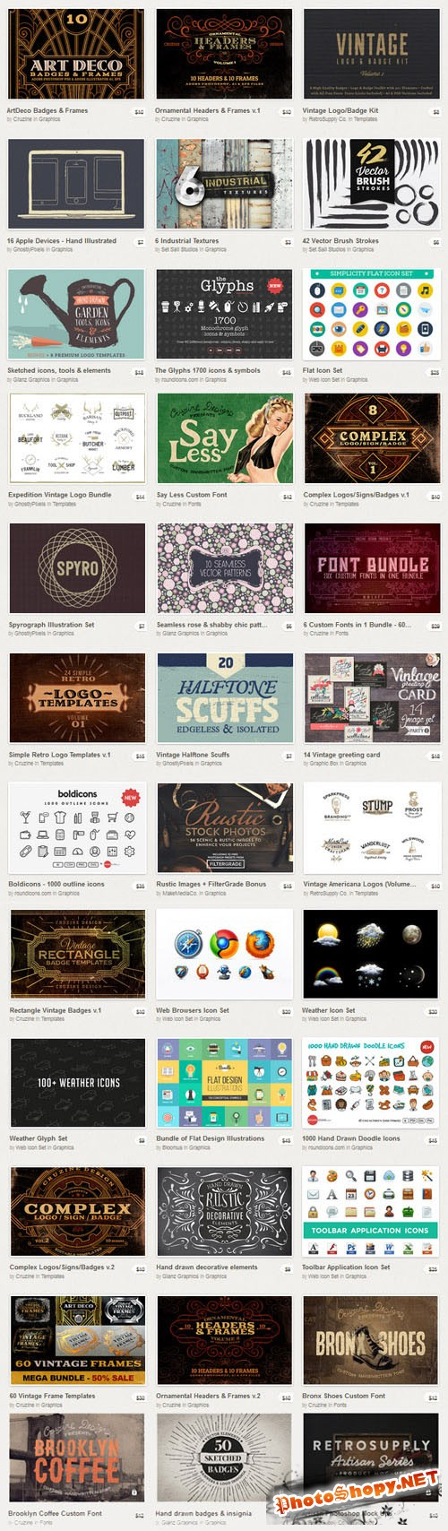 Creative Market Big Bundle III - 75 Premium Items