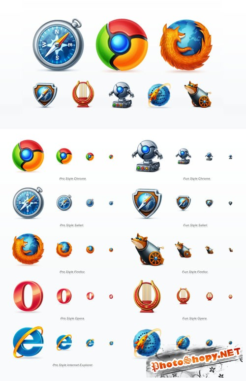 Creativemarket - Web Browsers Icon Set 823