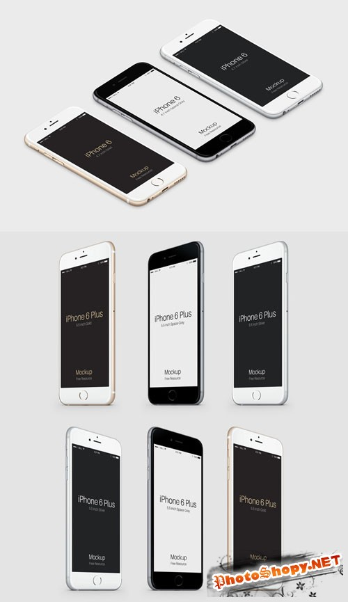 3D View iPhone 6 PSD Vector Mockup Collection
