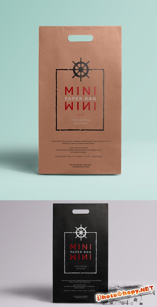 Mini PSD Paper Bag Mockup