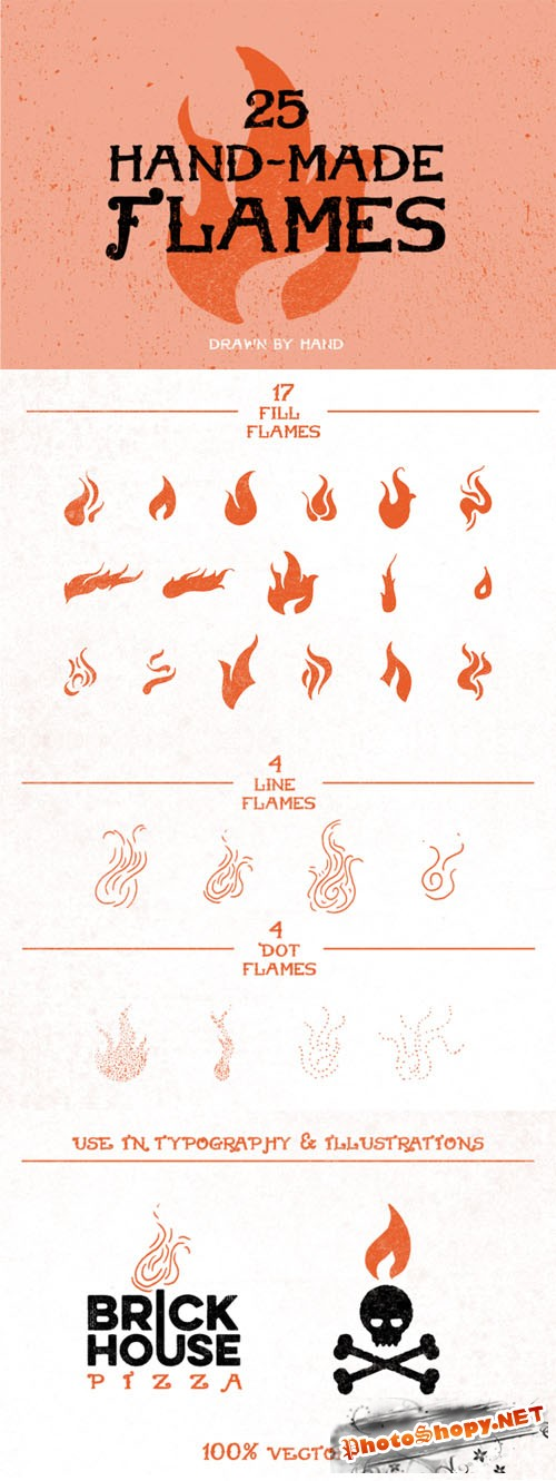 25 Hand-Made Flames - Creativemarket 52226