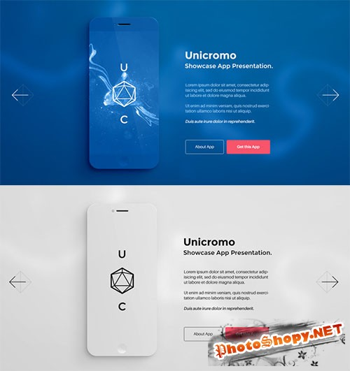 App Phone Showcase PSD Mockup