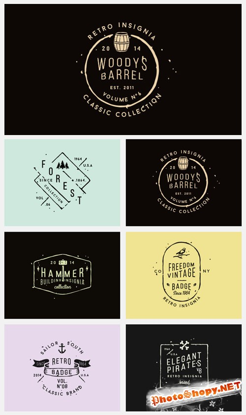Vector Vintage Badges PSD Presentation Vol.6