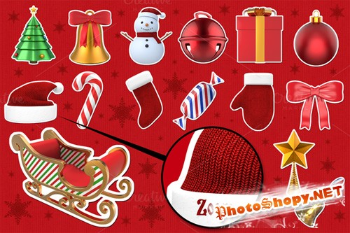 PNG Set - Christmas Stickers 3D