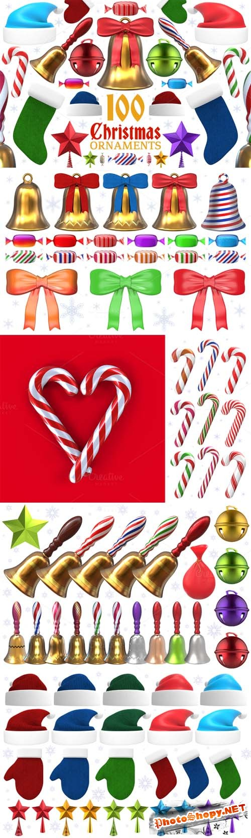 PNG Set - Christmas Ornaments and Items - 3D