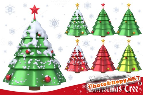 PNG Set - Christmas Tree 3D Set 1