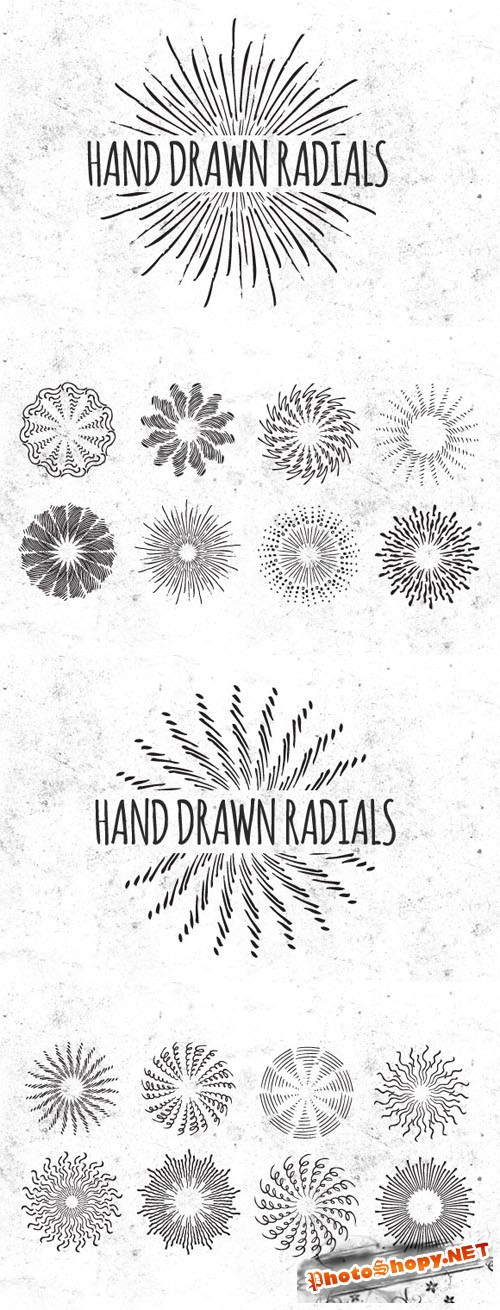 Hand Drawn Vector Radials Vol 2