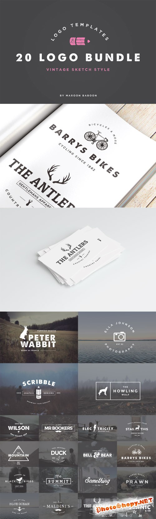 20 Vintage Logo Templates Bundle
