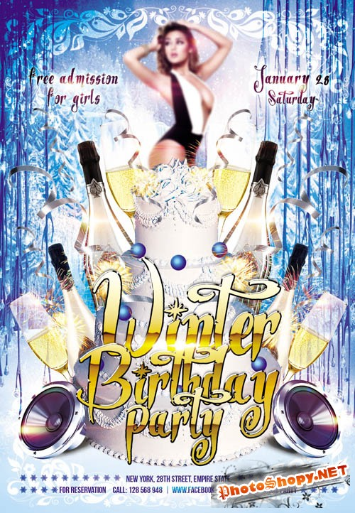 Flyer Template - Winter Birthday Party Club