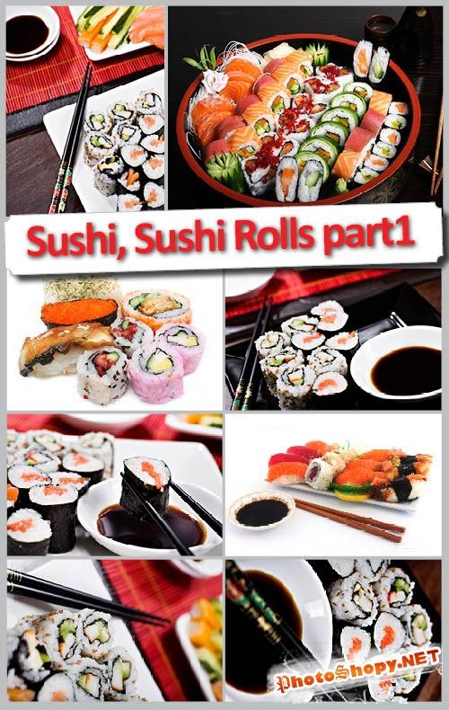 Качественный растровый клипарт Суши и Суши ролы часть 1 | Sushi part one