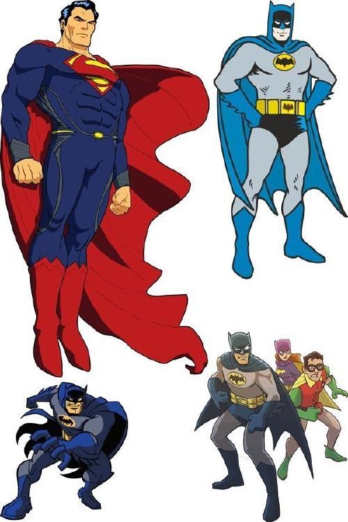 Супергерои: Бэтмен и Супермен (векторные отрисовки)