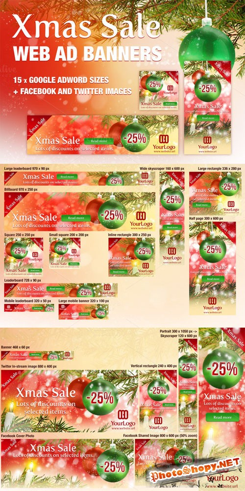 Xmas Ad Banners (for) Google Adwords - Creativemarket 115838