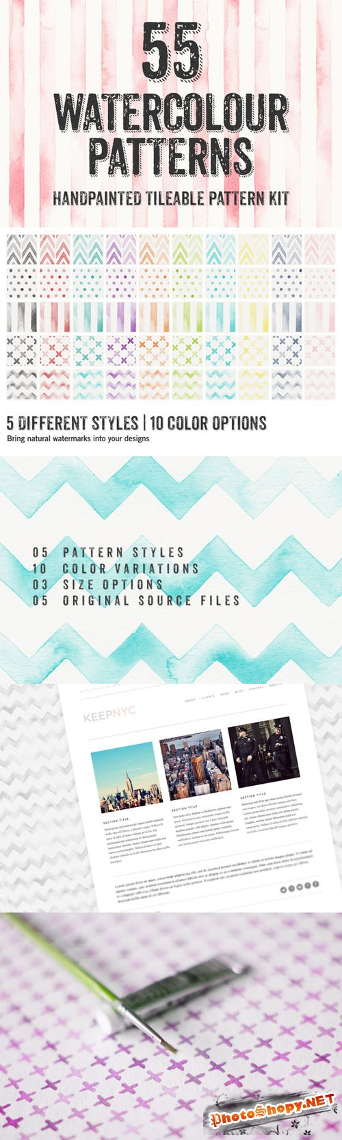 55 Watercolor Patterns - Creativemarket 14570