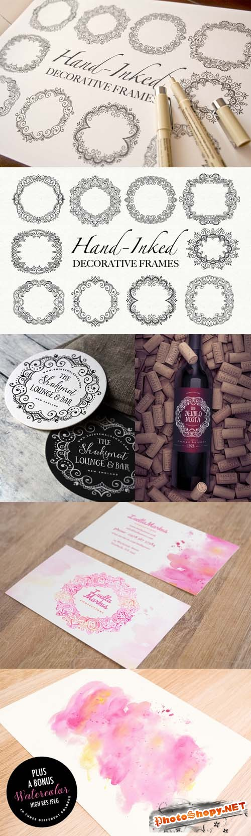 Hand-Inked Decorative Frames PSD and Vector
