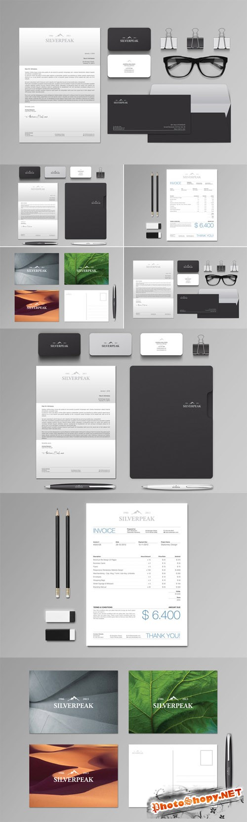 Silverpeak Stationery Set and Invoice