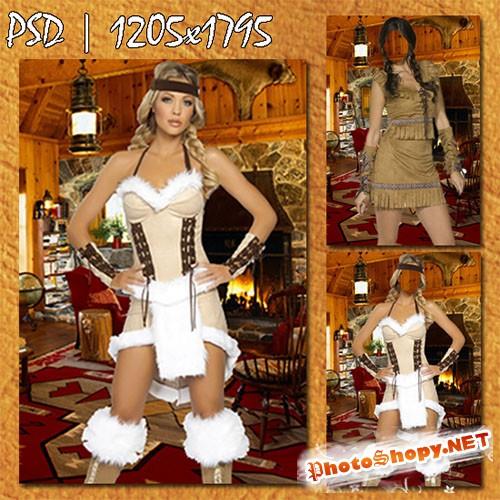 Женский фотошаблон - Женщина в костюме индейца в современном вигваме