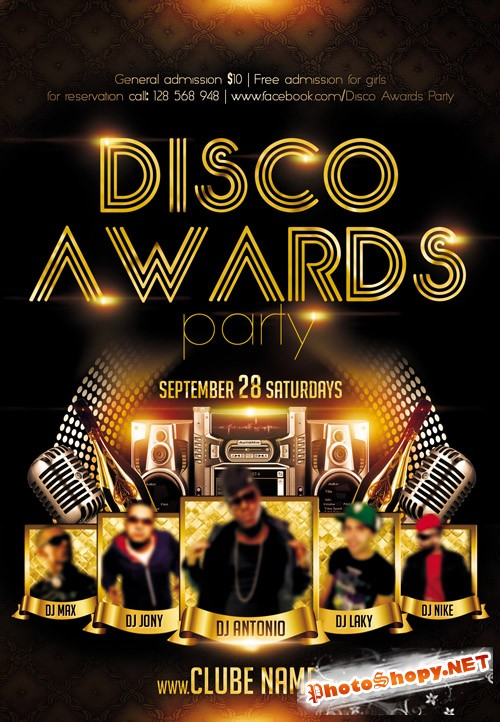 Club Flyer PSD Template - Disco Awards Party