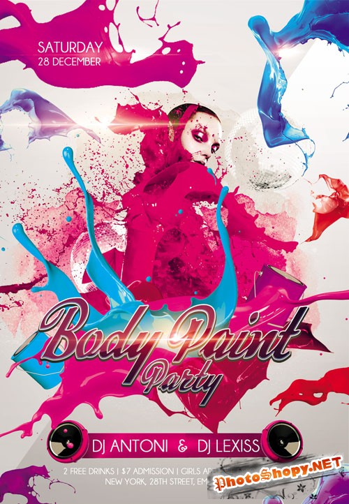 Club Flyer PSD Template - Body Paint Party