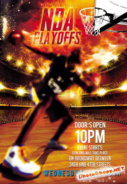 Flyer PSD Template - NBA Playoffs