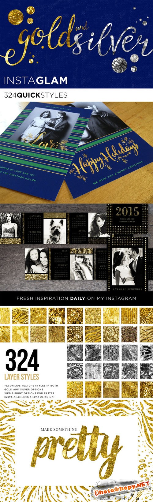 Gold Foil + Silver InstaGlam Styles - Creativemarket 94828