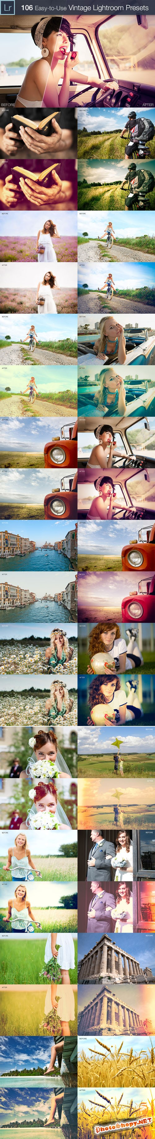 Vintage Lightroom Presets Collection 106 Elegant Presets from 4 Sets