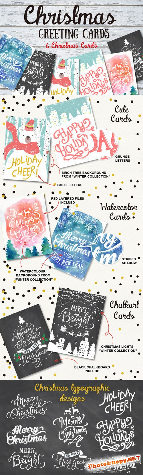 6 Christmas greeting cards set - Creativemarket 132057