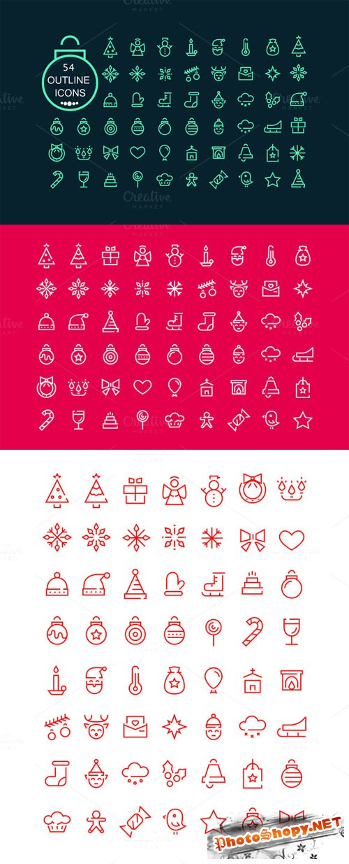 54 Christmas Icons - Creativemarket 116558