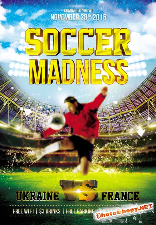 Flyer PSD Template - Soccer Madness