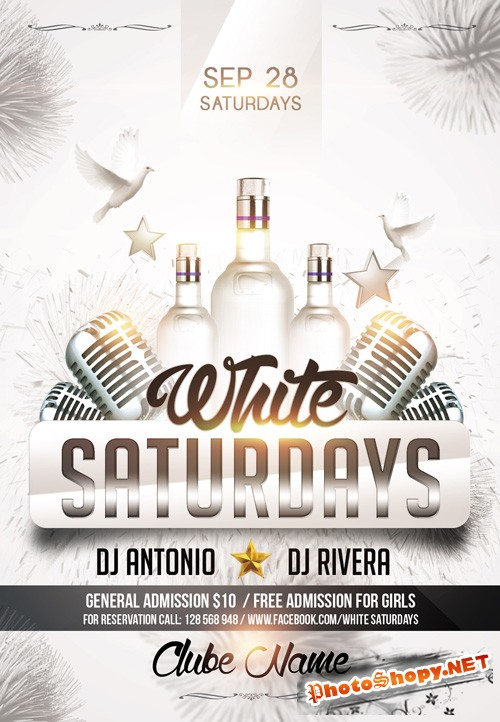 Flyer PSD Template - White Saturdays