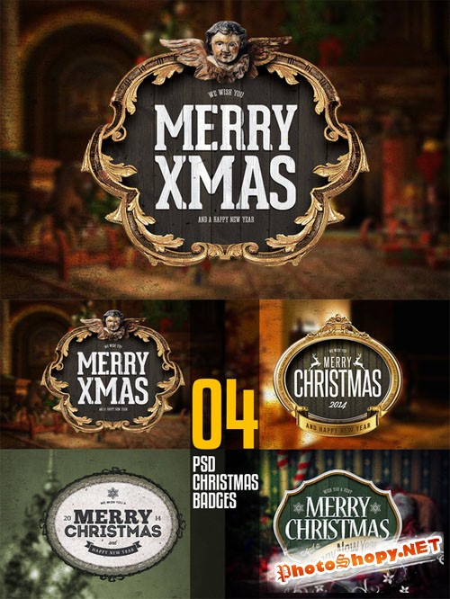 4 PSD Christmas Badges - Creativemarket 107999
