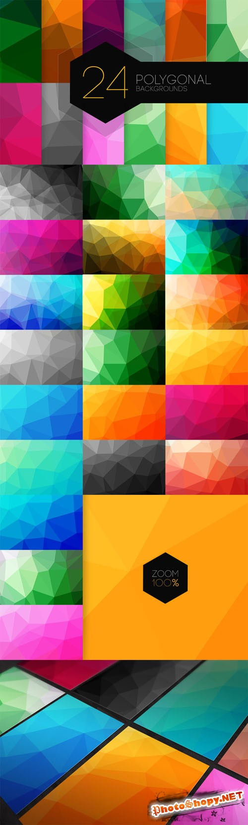 24 Polygonal Backgrounds - Creativemarket 93065
