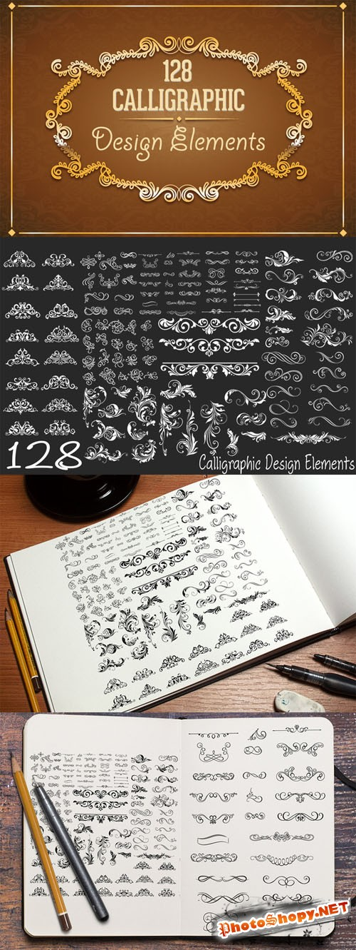 128 Calligraphic Design Elements - CM 101689