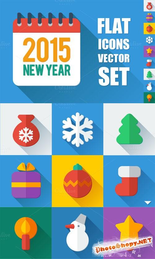 Flat icons New Year set - CM 126086