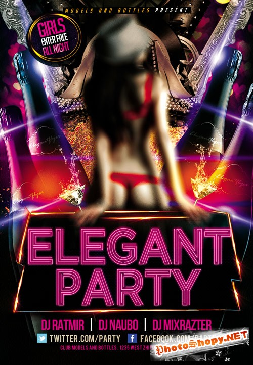 Flyer PSD Template - Elegant Party