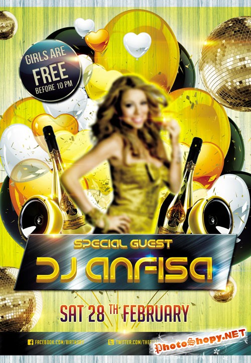 Flyer PSD Template - Special Guest Dj Anfisa