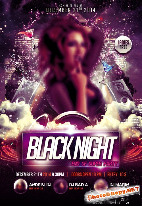 Flyer PSD Template - Black Night Party