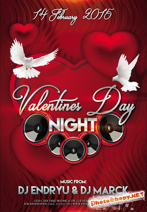 Flyer PSD Template - Valentines Day Night