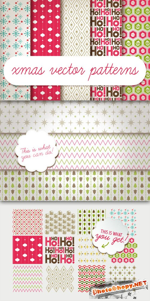 Xmas vector patterns - Creativemarket 1627