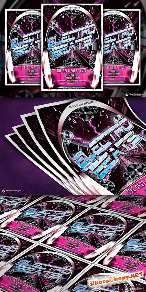 Electro Beats Flyer Template - Creativemarket 89509