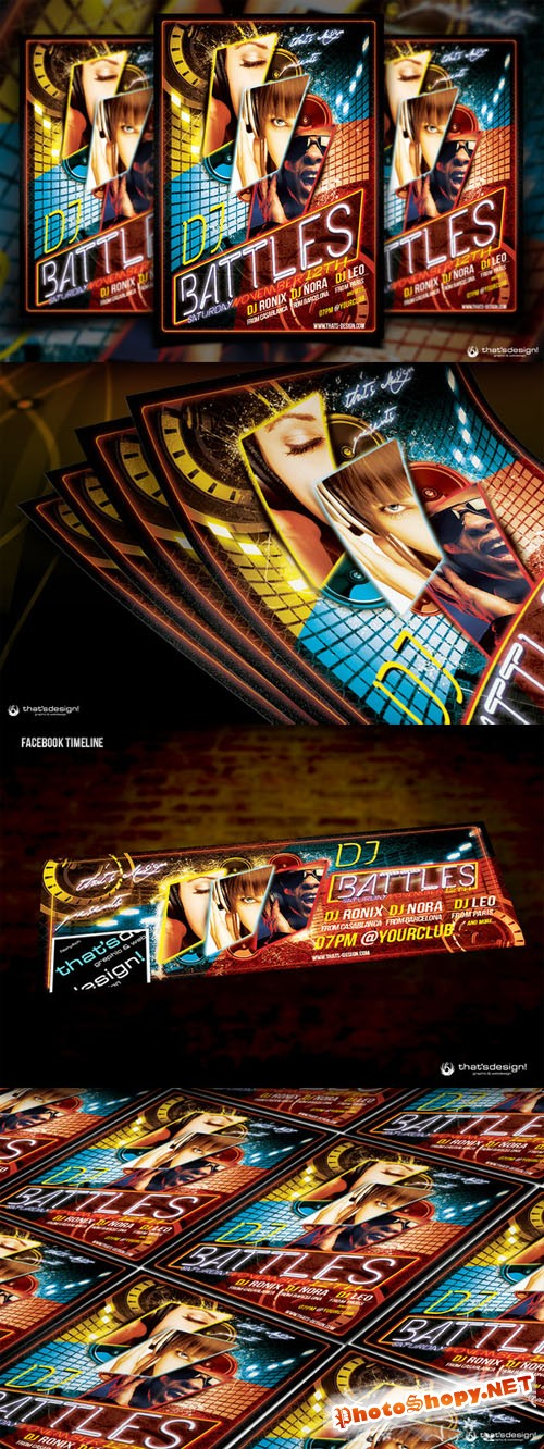 DJ Battle Flyer Template - Creativemarket 90484