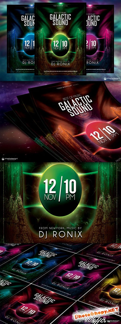 Galactic Sound Flyer Template V2 - Creativemarket 89862