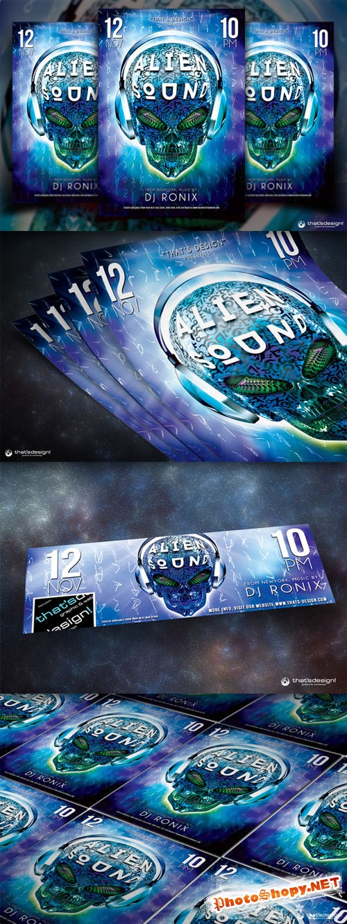 Alien Sound Flyer Template - Creativemarket 88575