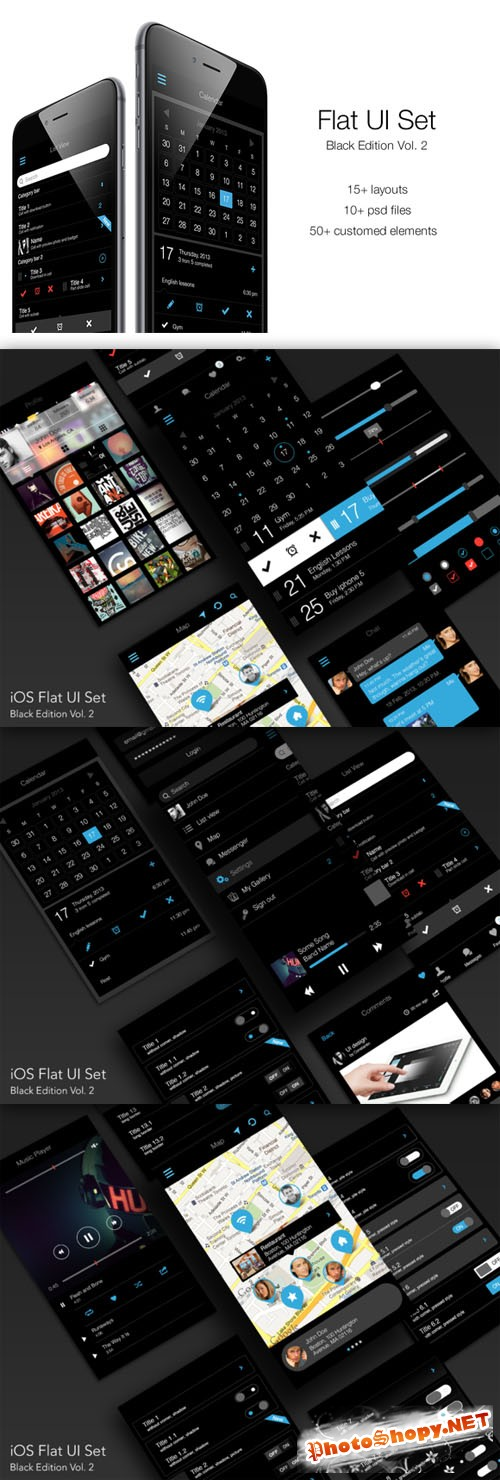 iOS Flat UI Set Black Edition Vol. 2 - CM 87585