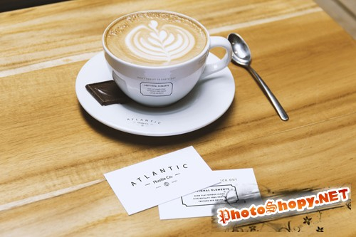 Business Card and Coffee Cup Mockup PSD